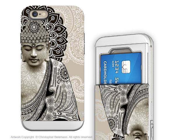 Paisley Buddha iPhone 6 6s Cardholder Case - Meditatin Mehndi - Zen Budhist Credit Card Holder Wallet Case for iPhone 6s - iPhone 6 6s Cardholder Case - 1