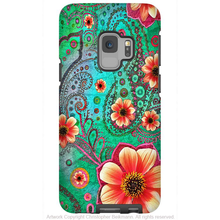 Paisley Paradise - Galaxy S9 / S9 Plus / Note 9 Tough Case - Dual Layer Protection for Samsung S9 - Teal and Orange Floral Case - Galaxy S9 / S9+ / Note 9 - Fusion Idol Arts - New Mexico Artist Christopher Beikmann