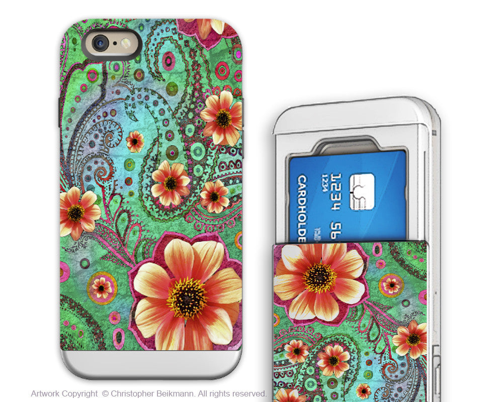 Paisley iPhone 6 6s Cardholder Case - Paisley Paradise - Floral Credit Card Holder Wallet Case for iPhone 6s - Fusion Idol Arts