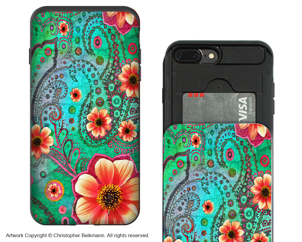 Paisley Paradise Apple iPhone 7 Plus Card Holder Case - Wallet Compartment case - iPhone 7 Plus Card Holder Case - Fusion Idol Arts - New Mexico Artist Christopher Beikmann