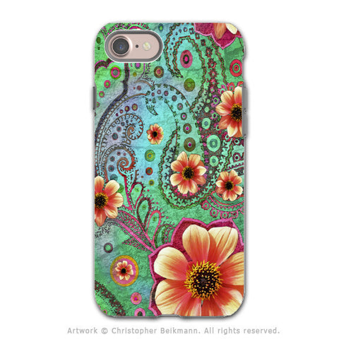 Teal Floral Paisley - Artistic iPhone 8 Tough Case - Dual Layer Protection - Paisley Paradise - iPhone 8 Tough Case - Fusion Idol Arts - New Mexico Artist Christopher Beikmann