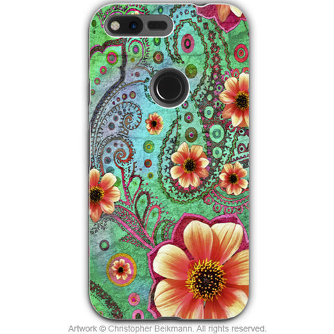 Teal Floral Paisley - Artistic Google Pixel Tough Case - Dual Layer Protection - Paisley Paradise - Fusion Idol Arts