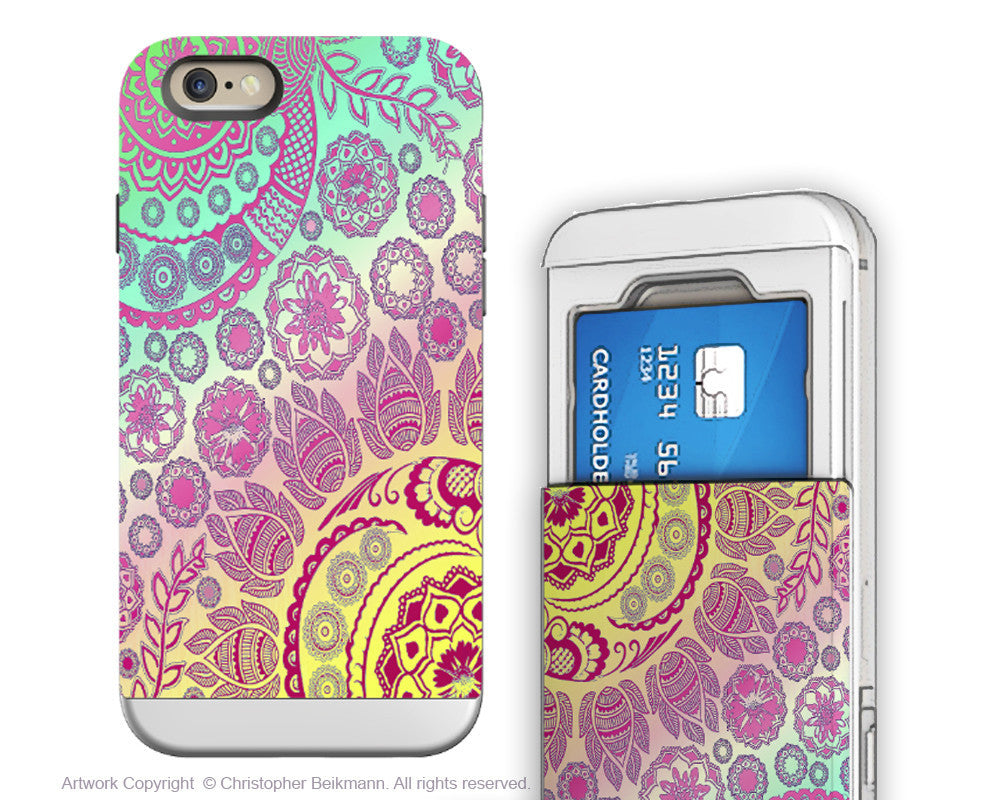 Pastel Paisley iPhone 6 6s Cardholder Case - Cotton Candy Mehndi - Floral Credit Card Holder Wallet Case for iPhone 6s - iPhone 6 6s Card Holder Case - Fusion Idol Arts - New Mexico Artist Christopher Beikmann