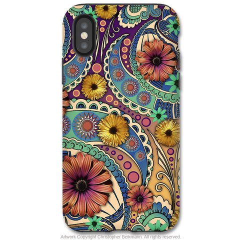 Petals and Paisley - iPhone X / XS / XS Max / XR Tough Case - Dual Layer Protection for Apple iPhone 10 - Colorful Paisley Daisy Art - iPhone X Tough Case - Fusion Idol Arts - New Mexico Artist Christopher Beikmann