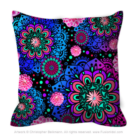 Pink and Purple Modern Floral Throw Pillow - Frilly Floratopia - Fusion Idol Arts
