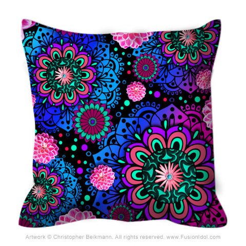 Pink and Purple Modern Floral Throw Pillow - Frilly Floratopia - Throw Pillow - Fusion Idol Arts - New Mexico Artist Christopher Beikmann