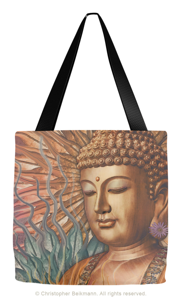 Orange, Teal and Lavender Buddha Tote Bag - Proliferation of Peace - Tote Bag - Fusion Idol Arts - New Mexico Artist Christopher Beikmann