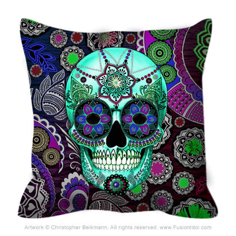 Purple Paisley Skull Throw Pillow - Sugar Skull Sombrero Night - Throw Pillow - Fusion Idol Arts - New Mexico Artist Christopher Beikmann