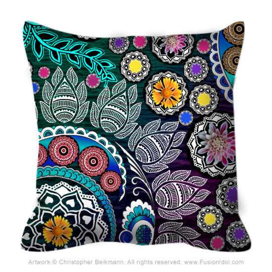 Green and Purple Indian Paisley Floral Throw Pillow - Mehndi Garden - Fusion Idol Arts