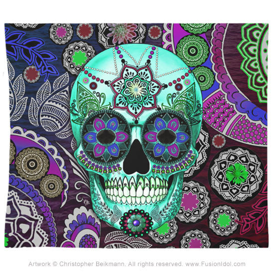 Sugar Skull Sombrero Night Tapestry - Day of the Dead Art - Tapestry - Fusion Idol Arts - New Mexico Artist Christopher Beikmann