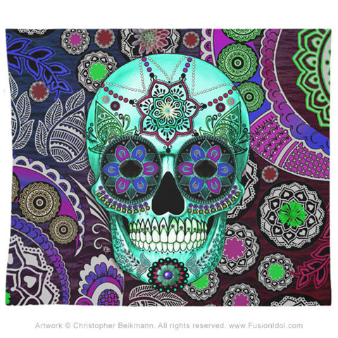 Sugar Skull Sombrero Night Tapestry - Day of the Dead Art, Tapestry - Christopher Beikmann