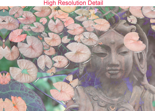 Pastel Kwan Yin Goddess and Lotus Flower Art Canvas - Reflections - Premium Canvas Gallery Wrap - Fusion Idol Arts - New Mexico Artist Christopher Beikmann