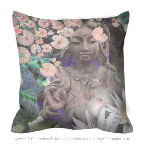 Pastel Kwan Yin Goddess Throw Pillow - Reflections - Throw Pillow - Fusion Idol Arts - New Mexico Artist Christopher Beikmann