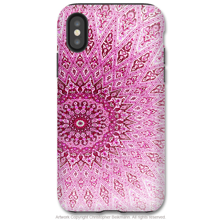 Rose Mandala - iPhone X / XS / XS Max / XR Tough Case - Dual Layer Protection for Apple iPhone 10 - Pink Mandala Zen Art Case - iPhone X Tough Case - Fusion Idol Arts - New Mexico Artist Christopher Beikmann