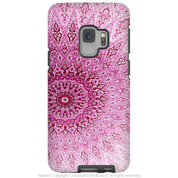 Rose Mandala - Galaxy S9 / S9 Plus / Note 9 Tough Case - Dual Layer Protection for Samsung S9 - Pink Zen Case - Galaxy S9 / S9+ / Note 9 - Fusion Idol Arts - New Mexico Artist Christopher Beikmann