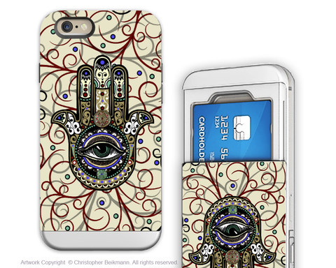 Hamsa Hand Evil Eye - Artistic iPhone 6 6s Case - Cardholder Case - sacred defender hamsa - iPhone 6 6s Card Holder Case - Fusion Idol Arts - New Mexico Artist Christopher Beikmann