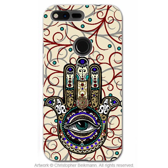 Hamsa Hand Google Pixel Case - Evil Eye Protection - Hand of Fatima Good Luck - Google Pixel Tough Case - Sacred Defender - Google Pixel Tough Case - Fusion Idol Arts - New Mexico Artist Christopher Beikmann