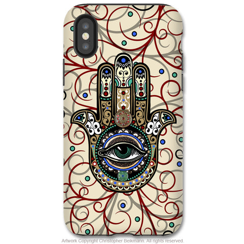 Sacred Defender Hamsa - iPhone X Tough Case - Dual Layer Protection for Apple iPhone 10 - Evil Eye Protection Good Luck Symbol - iPhone X Tough Case - Fusion Idol Arts - New Mexico Artist Christopher Beikmann