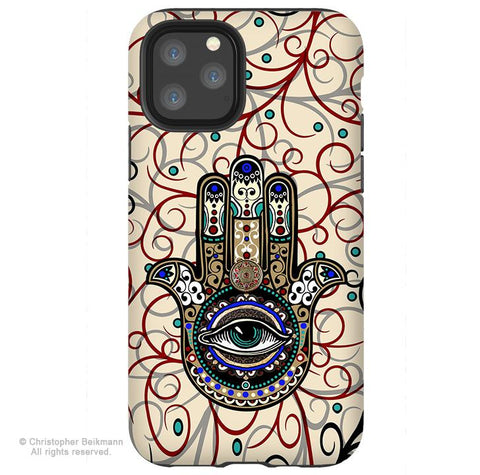 Sacred Defender Hamsa - iPhone 11 / 11 Pro / 11 Pro Max Tough Case - Dual Layer Protection for Apple iPhone XI - Evil Eye Defense Case - iPhone 11 Tough Case - Fusion Idol Arts - New Mexico Artist Christopher Beikmann