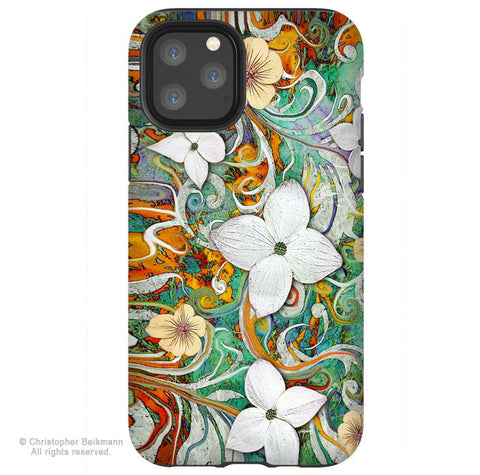 Sangria Flora - iPhone 11 / 11 Pro / 11 Pro Max Tough Case - Dual Layer Protection for Apple iPhone XI - Floral Art Case - iPhone 11 Tough Case - Fusion Idol Arts - New Mexico Artist Christopher Beikmann