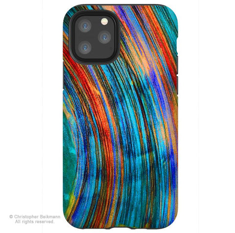 Saturno - iPhone 11 / 11 Pro / 11 Pro Max Tough Case - Dual Layer Protection for Apple iPhone XI - Colorful Abstract Art Case - iPhone 11 Tough Case - Fusion Idol Arts - New Mexico Artist Christopher Beikmann