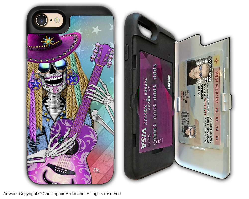 Country Girl Sugar Skull - Artistic Apple iPhone 7 Card Holder Case - Protective Wallet Case - scary underwood - iPhone 7 Card Holder Case - Fusion Idol Arts - New Mexico Artist Christopher Beikmann