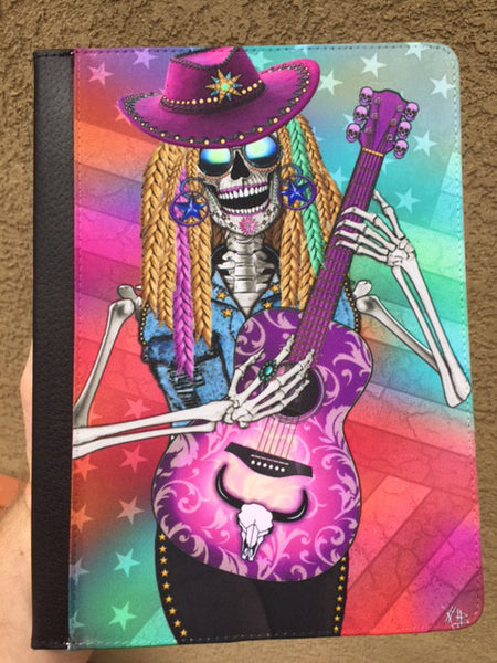 "Country Girl Sugar Skull iPad AIR Folio Case - For iPad AIR / AIR 2 -Scary Underwood- for 10"" Tablets - iPad AIR Folio Case - Fusion Idol Arts - New Mexico Artist Christopher Beikmann"