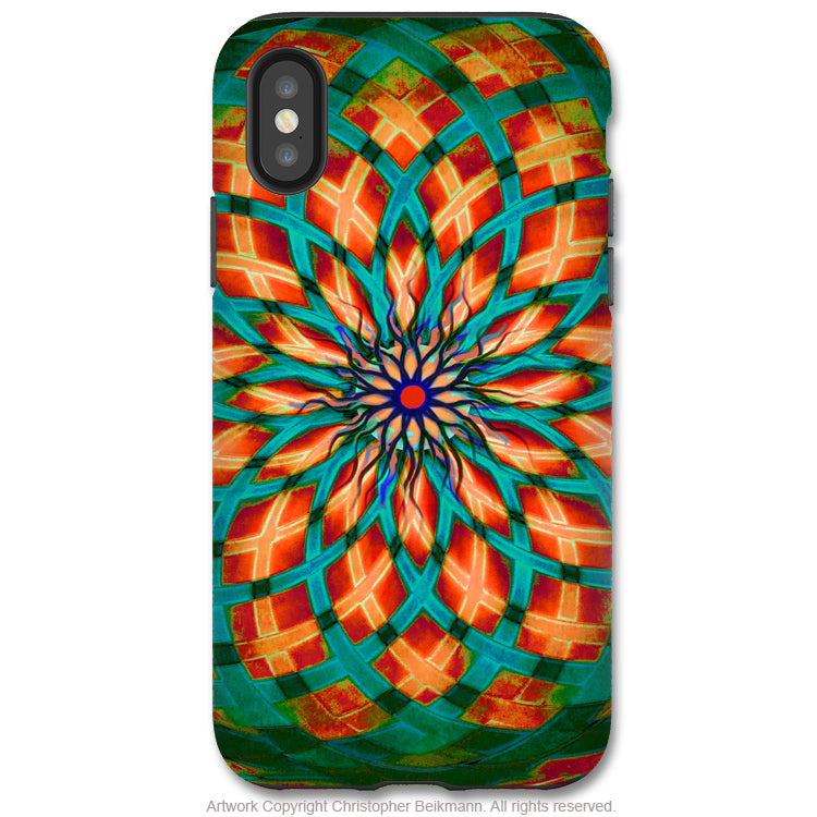 Southwest Kalotuscope - iPhone X / XS / XS Max / XR Tough Case - Dual Layer Protection for Apple iPhone 10 - Green and Orange Geometric Art Case - iPhone X Tough Case - Fusion Idol Arts - New Mexico Artist Christopher Beikmann