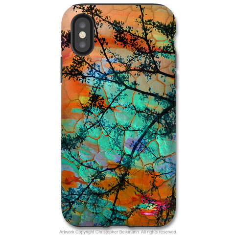 Southwest Sunset - iPhone X / XS / XS Max / XR Tough Case - Dual Layer Protection for Apple iPhone 10 - Orange and Turquoise Abstract Art Case - iPhone X Tough Case - Fusion Idol Arts - New Mexico Artist Christopher Beikmann