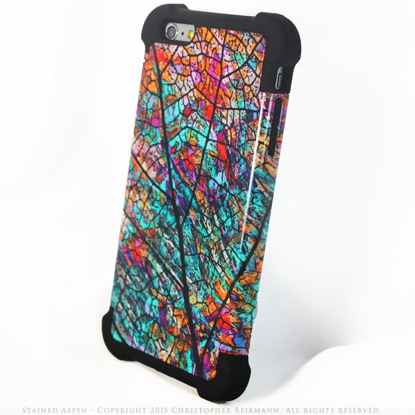 Colorful Aspen Leaf iPhone 6 Plus - 6s Plus Case - Stained Aspen - SUPER BUMPER Case - iPhone 6 6s Plus SUPER BUMPER Case - Fusion Idol Arts - New Mexico Artist Christopher Beikmann
