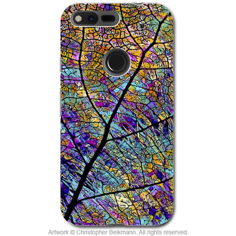 Colorful Aspen Leaf - Artistic Google Pixel Tough Case - Dual Layer Protection - stained Aspen - Fusion Idol Arts