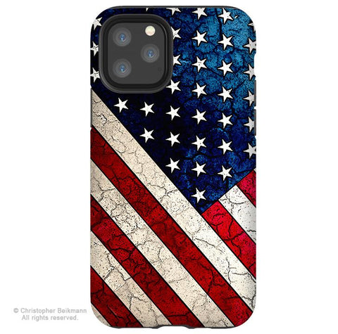 Stars and Stripes - iPhone 11 / 11 Pro / 11 Pro Max Tough Case - Dual Layer Protection for Apple iPhone XI - American Flag Art Case - iPhone 11 Tough Case - Fusion Idol Arts - New Mexico Artist Christopher Beikmann