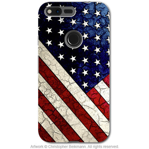 U.S. Flag Distressed - Artistic Google Pixel Tough Case - Dual Layer Protection - Stars and Stripes - Fusion Idol Arts