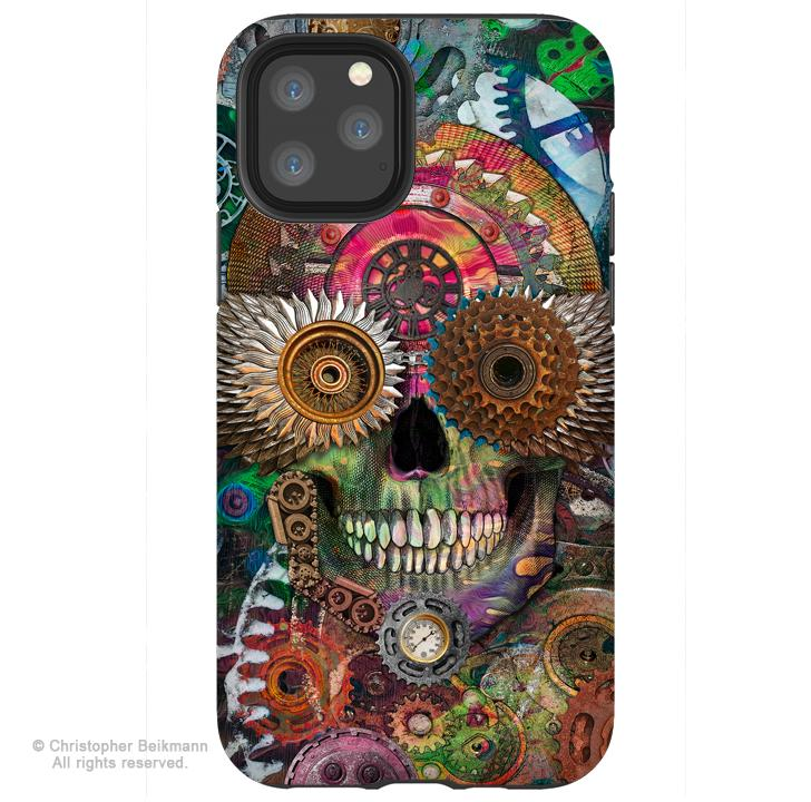 Steampunk Mechaniskull - iPhone 11 / 11 Pro / 11 Pro Max Tough Case - Dual Layer Protection for Apple iPhone XI - Steampunk Sugar Skull Case - iPhone 11 Tough Case - Fusion Idol Arts - New Mexico Artist Christopher Beikmann