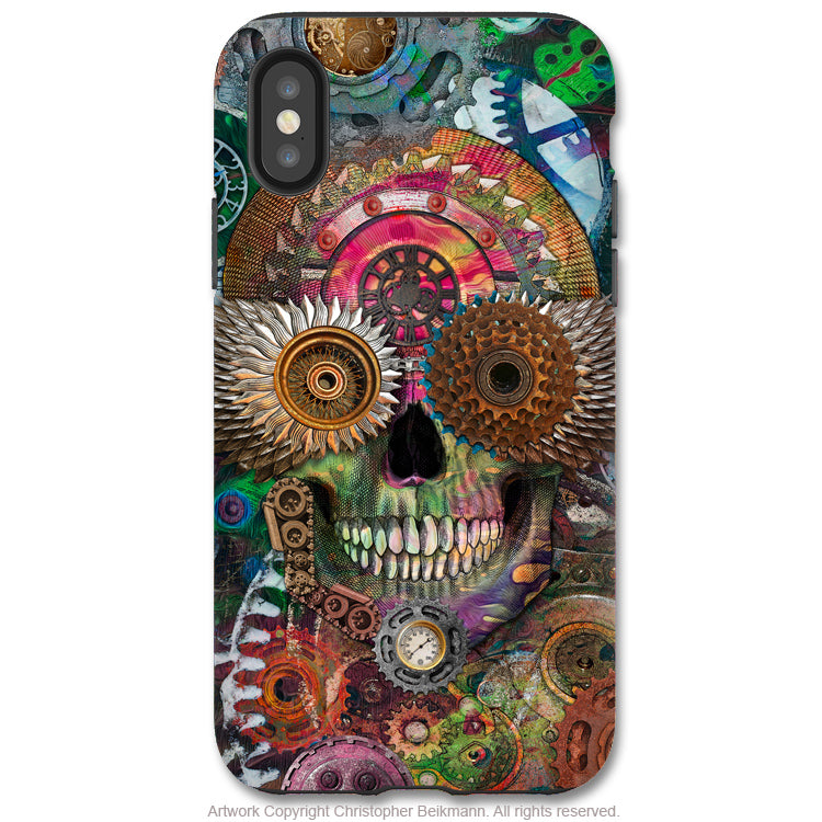 Steampunk Mechaniskull - iPhone X / XS / XS Max / XR Tough Case - Dual Layer Protection for Apple iPhone 10 - Day of the Dead Art Case - iPhone X Tough Case - Fusion Idol Arts - New Mexico Artist Christopher Beikmann