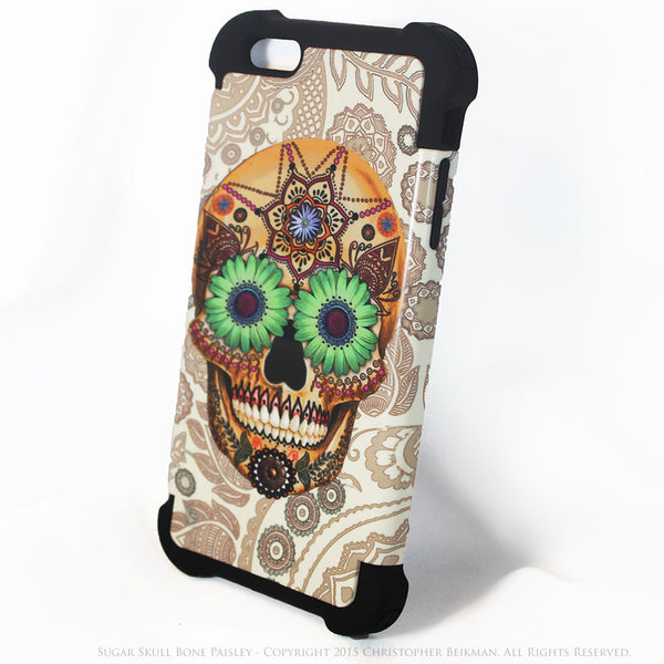 Sugar Skull Bone Paisley - iPhone 6 Plus - 6s Plus SUPER BUMPER Case - iPhone 6 6s Plus SUPER BUMPER Case - Fusion Idol Arts - New Mexico Artist Christopher Beikmann