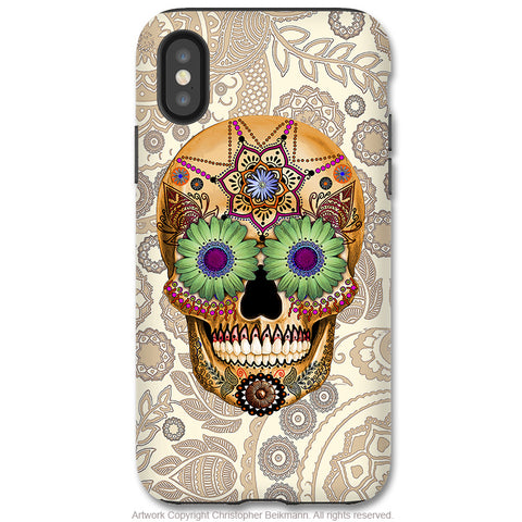 Sugar Skull Bone Paisley - iPhone X / XS / XS Max / XR Tough Case - Dual Layer Protection for Apple iPhone 10 - Day of the Dead Art Case - iPhone X Tough Case - Fusion Idol Arts - New Mexico Artist Christopher Beikmann