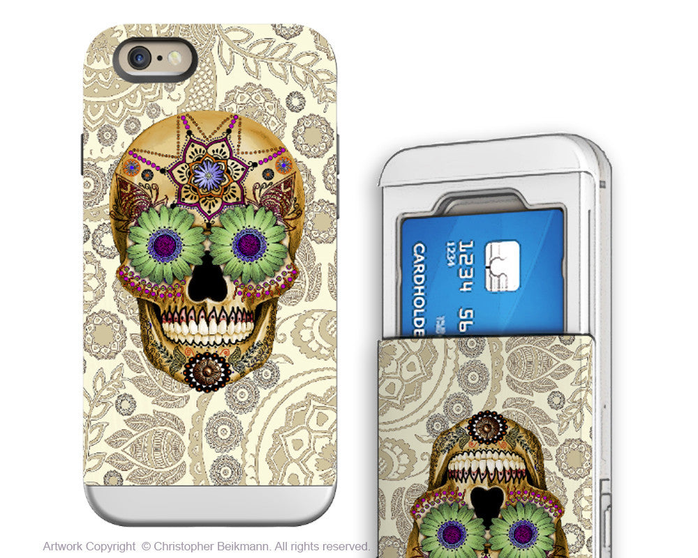 Sugar Skull iPhone 6 6s Cardholder Case - Bone Paisley - Day of the Dead Credit Card Holder Wallet Case for iPhone 6s - iPhone 6 6s Card Holder Case - Fusion Idol Arts - New Mexico Artist Christopher Beikmann