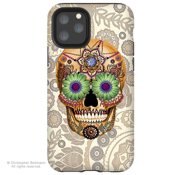 Sugar Skull Bone Paisley - iPhone 11 / 11 Pro / 11 Pro Max Tough Case - Dual Layer Protection for Apple iPhone XI - Paisley Sugar Skull Case - iPhone 11 Tough Case - Fusion Idol Arts - New Mexico Artist Christopher Beikmann