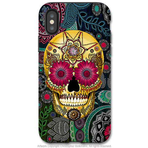 Sugar Skull Paisley Garden - iPhone X / XS / XS Max / XR Tough Case - Dual Layer Protection for Apple iPhone 10 - Dia De Los Muertos Art Case - iPhone X Tough Case - Fusion Idol Arts - New Mexico Artist Christopher Beikmann