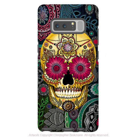 Colorful Sugar Skull Galaxy Note 8 Case - Astrologiskull - Day of The Dead Galaxy Note 8 Tough Case - Sugar Skull Paisley Garden - Galaxy Note 8 Tough Case - Fusion Idol Arts - New Mexico Artist Christopher Beikmann
