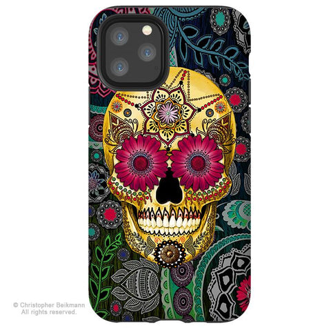 Sugar Skull Paisley - iPhone 11 / 11 Pro / 11 Pro Max Tough Case - Dual Layer Protection for Apple iPhone XI - Floral Sugar Skull Case - iPhone 11 Tough Case - Fusion Idol Arts - New Mexico Artist Christopher Beikmann