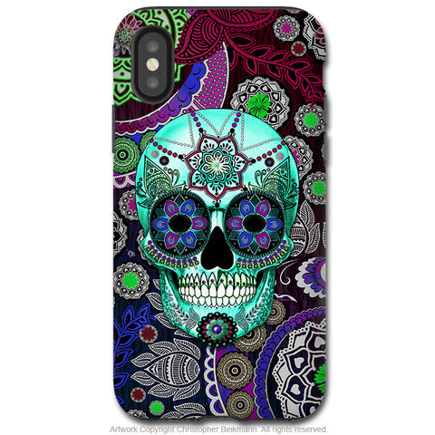 Sugar Skull Sombrero Night - iPhone X / XS / XS Max / XR Tough Case - Dual Layer Protection for Apple iPhone 10 - Purple Day of the Dead Art Case - iPhone X Tough Case - Fusion Idol Arts - New Mexico Artist Christopher Beikmann