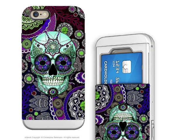 Purple Sugar Skull iPhone 6 6s Credit Card Case - Sugar Skull Sombrero Night - Day of the Dead Cardholder Wallet Case for iPhone 6s - iPhone 6 6s Card Holder Case - Fusion Idol Arts - New Mexico Artist Christopher Beikmann