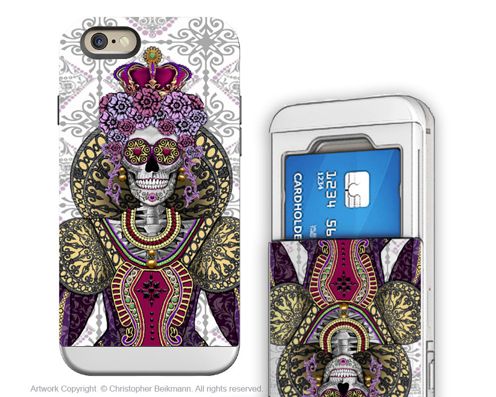 Sugar Skull Renaissance Queen - Artistic iPhone 6 6s Case - Cardholder Wallet Case - mary queen of skulls - iPhone 6 6s Card Holder Case - Fusion Idol Arts - New Mexico Artist Christopher Beikmann
