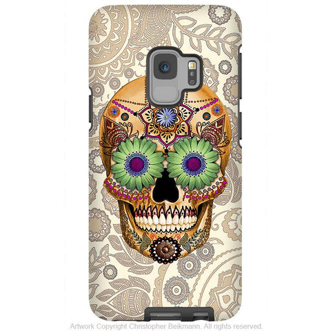 Bone Paisley Sugar Skull - Galaxy S9 / S9 Plus / Note 9 Tough Case - Dual Layer Protection - Galaxy S9 / S9+ / Note 9 - Fusion Idol Arts - New Mexico Artist Christopher Beikmann