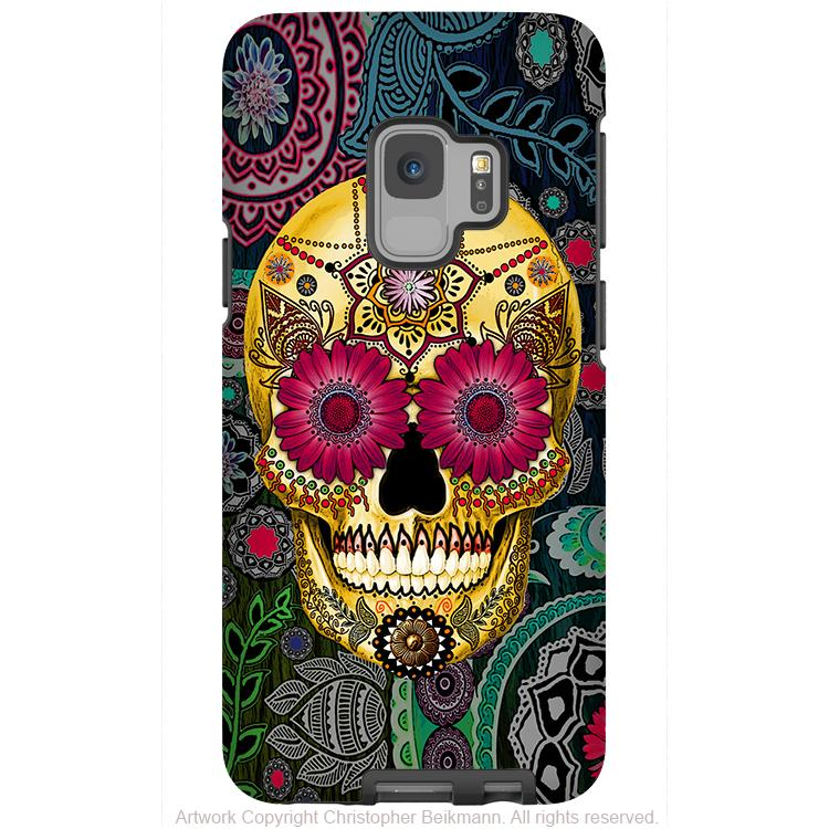 Colorful Paisley Sugar Skull - Galaxy S9 / S9 Plus / Note 9 Tough Case - Dual Layer Protection - Galaxy S9 / S9+ / Note 9 - Fusion Idol Arts - New Mexico Artist Christopher Beikmann