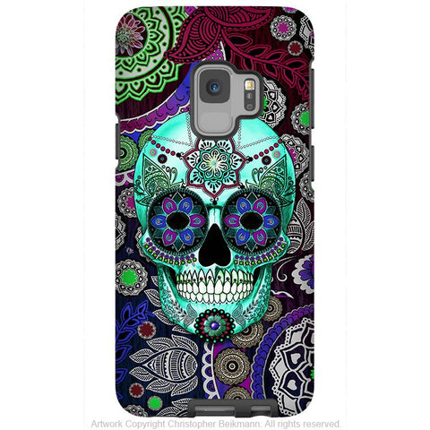 Purple Paisley Sugar Skull - Galaxy S9 / S9 Plus / Note 9 Tough Case - Dual Layer Protection - Galaxy S9 / S9+ / Note 9 - Fusion Idol Arts - New Mexico Artist Christopher Beikmann