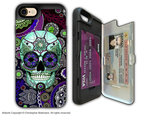 Purple Paisley Sugar Skull - Artistic Apple iPhone 7 Card Holder Case - Protective Wallet Case - sugar skull sombrero night - iPhone 7 Card Holder Case - Fusion Idol Arts - New Mexico Artist Christopher Beikmann