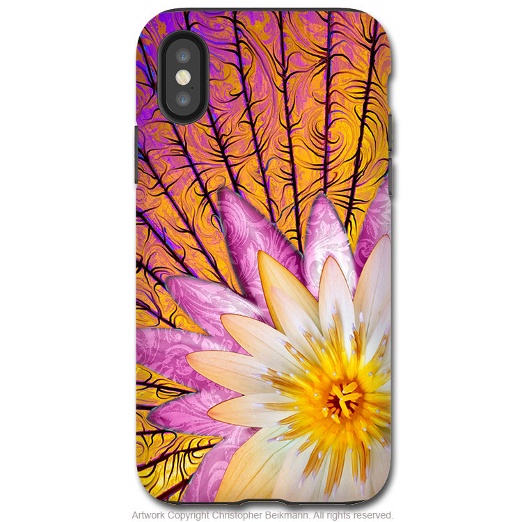 Sun Bloom Lotus - iPhone X Tough Case - Dual Layer Protection for Apple iPhone 10 - Orange and Pink Floral Art Case - iPhone X Tough Case - Fusion Idol Arts - New Mexico Artist Christopher Beikmann
